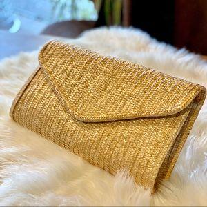 Vintage Straw Clutch Oversized Boho Woven Purse